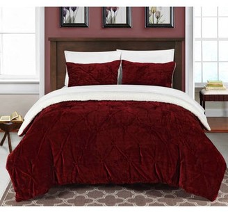 7-Piece Luxury Comforter Set in Red Pinch Pleated Ruffled and Pin Tuck Sherpa Lined, King