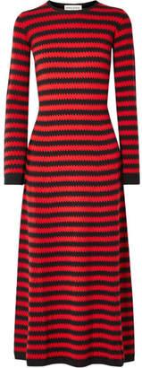 Sonia Rykiel Striped Cashmere Midi Dress - Red