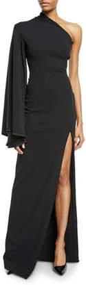 SOLACE London Lani Crepe One-Shoulder Front-Split Gown
