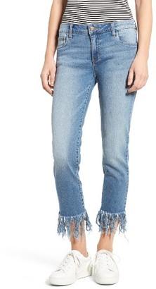 Women's Sun & Shadow Fringe Cuff Crop Jeans $65 thestylecure.com
