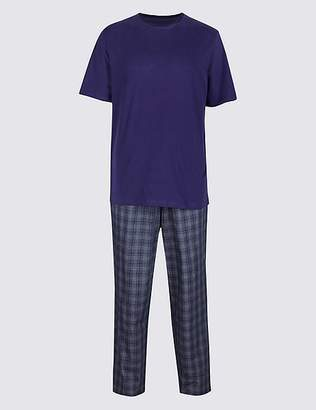 Marks and Spencer 2in Longer Pure Cotton Checked Pyjama Set