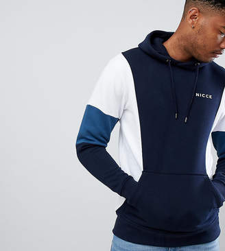 Nicce London panelled hoodie in navy exclusive to ASOS