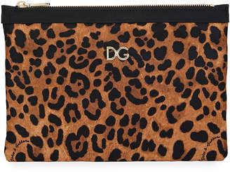 Dolce & Gabbana Leopard-Print Nylon Clutch Bag
