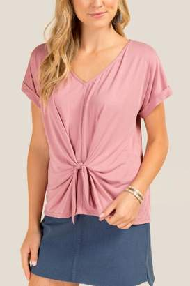francesca's Ellie Knot Front Cuff Sleeve Cupro Top - Rose