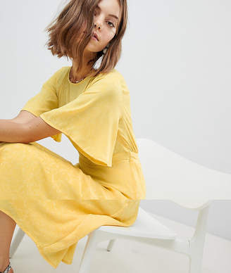 Vero Moda frill midi skater dress in yellow