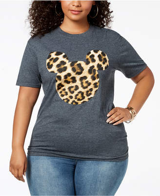 Disney Plus Size Leopard-Print Mickey Mouse T-Shirt