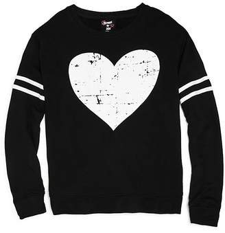 Flowers by Zoe Girls' French Terry Distressed Heart Sweatshirt - Big Kid