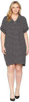 Calvin Klein Plus Plus Size Sleeveless V-Neck Stripe Dress Women's Dress