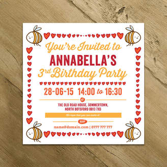 Bumble Bee A is for Alphabet Personalised Hearts Party Invitations