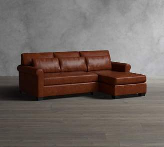 Pottery Barn York Roll Arm Deep Seat Leather Chaise Sofa Sectional