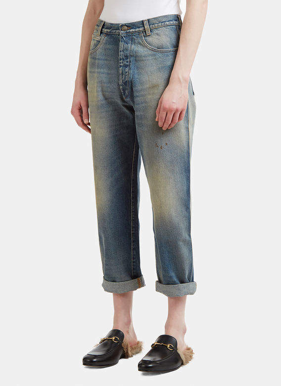 Tapered Denim Jeans in Blue