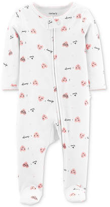 Carter's Carter Baby Girls 1-Pc. Footed Heart-Print Cotton Pajamas