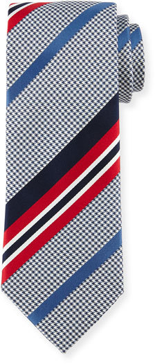 Brioni Brioni Satin-Striped Houndstooth Silk Tie, Red