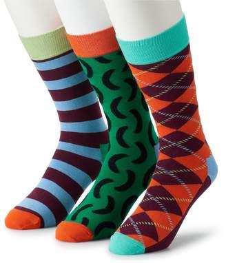HS by Happy Socks Men's 3-pack Patterned Crew Socks