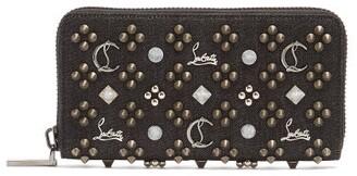 Christian Louboutin Panettone Embellished Zip Around Denim Wallet - Mens - Black