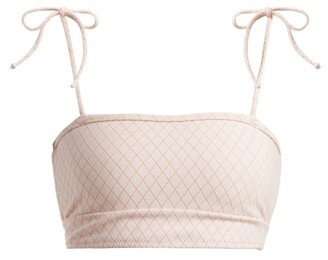 Made By Dawn - Arrow Tie Shoulder Bandeau Bikini Top - Womens - Light Pink