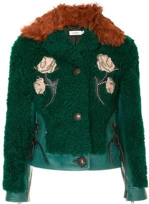 Coach embellished shearling jacket