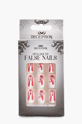 boohoo Bloodstains 12 Pack Halloween False Nails Kit