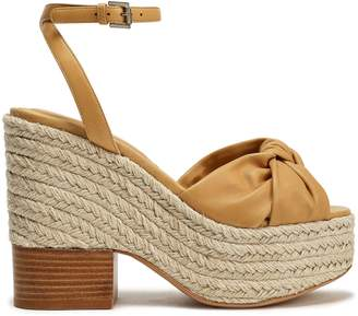 Michael Kors Knotted Leather Espadrille Wedge Sandals