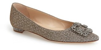 Women's Manolo Blahnik 'Hangisi' Jeweled Pointy Toe Flat $975 thestylecure.com