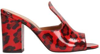 Paris Texas Sabot Sandals In Spotted Red Patent Leather