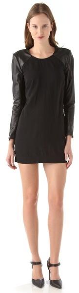 Mason by Michelle Mason Leather Sleeve Shift Dress