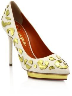 Charlotte Olympia Debbie Linen & Metallic Leather Platform Pumps