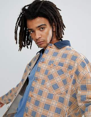Asos Design Oversized Denim Jacket In Orange Check