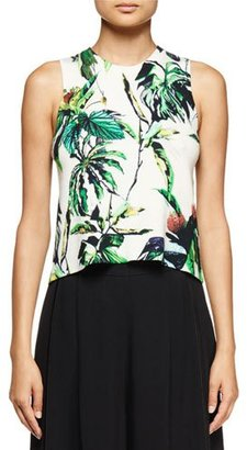 Proenza Schouler Sleeveless Tropical-Print Sweater, Off White/Green/Peach $590 thestylecure.com