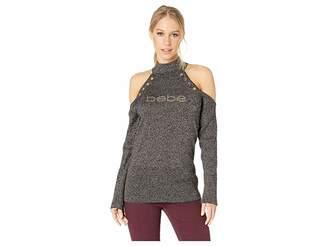 Bebe Mock Neck Grommet Cold Shoulder Women's Long Sleeve Pullover