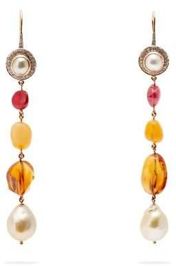 Jade Jagger Diamond, Pearl & 18kt Gold Drop Earrings - Womens - Multi