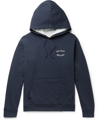 Holiday Boileau Logo-Print Loopback Washed-Cotton Jersey Hoodie - Men - Blue