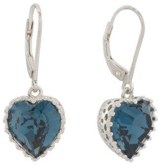 Sterling Silver Swarovski Crystal Montana Heart Earrings