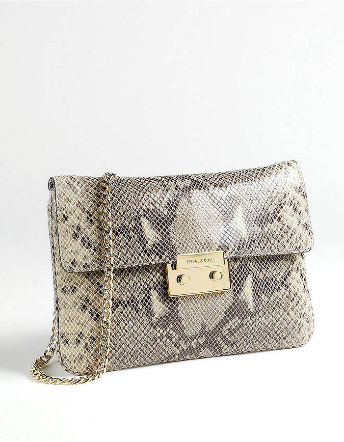 MICHAEL Michael Kors Sloan Python-Embossed Leather Clutch