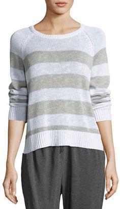 Eileen Fisher Organic Linen-Cotton Slub Striped Sweater $178 thestylecure.com