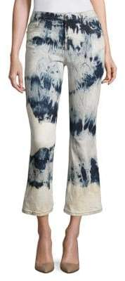 Faith Connexion Tie-Dye Cropped Flared Jeans