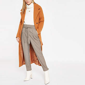 River Island Brown check belted tapered trousers
