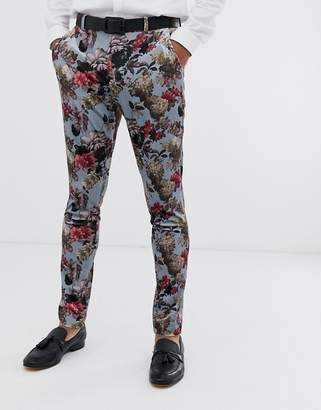 Asos Design DESIGN super skinny suit pants in blue floral print velvet