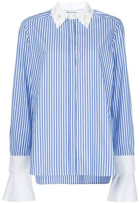 Muveil embellished collar stripe shirt