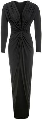 Sarvin Bianca Black Plunge Front Knot Maxi Dress
