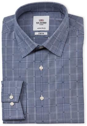 Ben Sherman Blue Dobby Check Slim Fit Dress Shirt