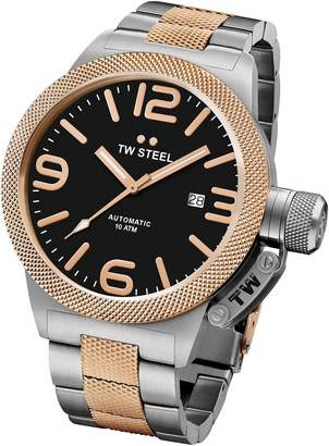 TW Steel CB136 Men's Canteen Bracelet Automatic Black Dial Two Tone Rose Gold Steel Watch