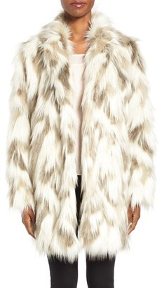 Women's Tahari Phoebe Multicolor Faux Fur Coat $238 thestylecure.com