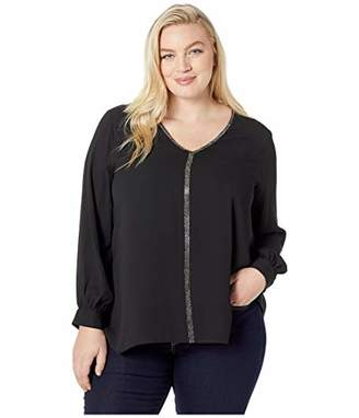 Karen Kane Women's Plus Size Sparkle Long Sleeve TOP