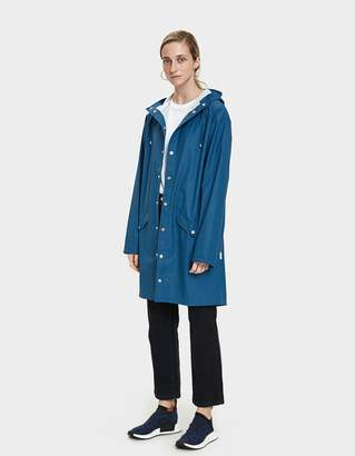 Rains Long Rain Jacket in Faded Blue