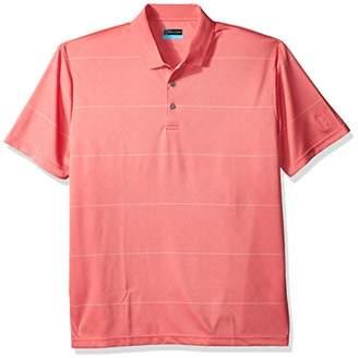 PGA TOUR Men's Short Sleeve Birdseye Argyle Striped Jacquard Polo
