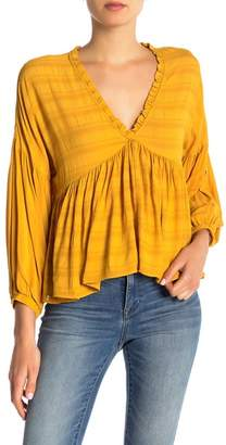 Lucky Brand Romantic Peasant Ruffle Top
