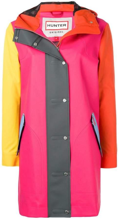 Colour-block rubberized coat