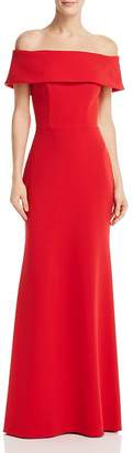 Aqua Off-the-Shoulder Scuba Crepe Gown - 100% Exclusive