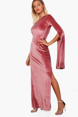 boohoo Olivia Velvet One Shoulder Maxi Dress